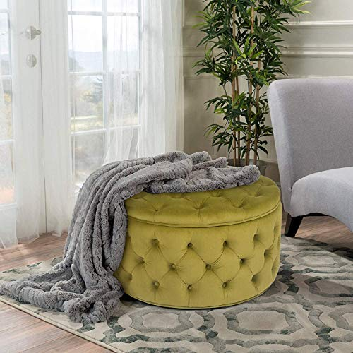 "Homebeez Round Velvet Storage Ottoman, Button Tufted Footrest Stool Coffee Table, 28.1"" W (Yellowish-Green)"
