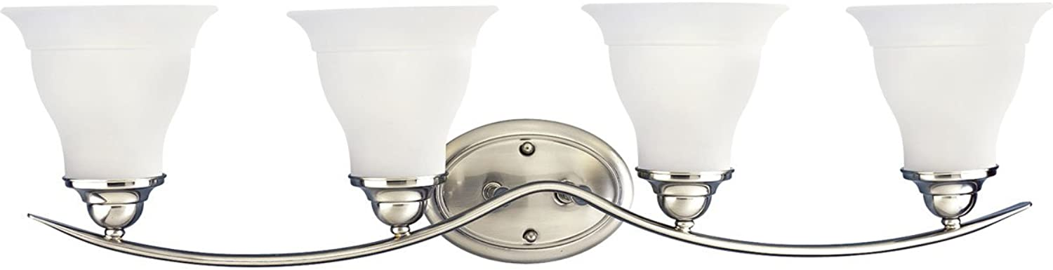 Progress Lighting P3193-09 4-Light Bath Bracket, Brushed Nickel