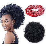 BIG Afro Puff Drawstring Ponytail for Black Women Big Curly Hair Ponytail Extension, Black Afro Bun Ponytail Clip on Hair Extensions for Women Weight 150 Gram, Elastic Headband Gift