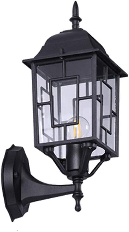 IP54 Rustikal Auenwandleuchten Wasserdicht und regendicht Aussenlampe Schwarz Vintage Auenlampe innen Outdoor Retro Gartenlampe 1- Flammig (Aluminium und Acryl)