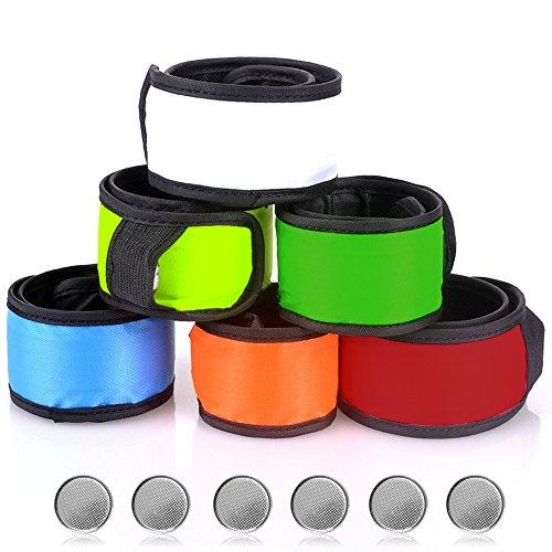 Senhai Muñequeras LED Luz de la Muñeca para Correr Caminar Montar, 6 Paquetes Brazaletes Pulsera, 6 Colores Diferentes