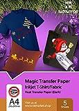 Hierro sobre papel de transferencia para tela oscura (Magic Paper) de Raimarket   5 hojas   A4 Transferencia de hierro para inyección de tinta en papel/camiseta