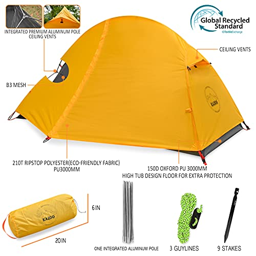 KAZOO Waterproof Backpacking Tent Ultralight 1 Person Lightweight Camping Tents 1 People Hiking Tents Aluminum Frame Double Layer (Eco-Friendly Fabric) (Bright Yellow)