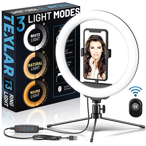 "Texlar T3 Ring Light 10"" - Portable Selfie Circle Lights with Tripod Stand, Phone Holder, Remote. Dimmable Desktop LED RingLight for iPhone, Laptop, Computer, Webcam, Desk, Video Conference Lighting"