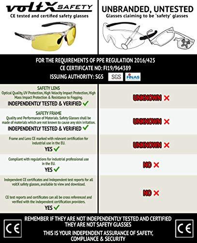 Gafas bifocales de Seguridad para Lectura voltX 'Constructor Ultimate' (Montura Transparente, Lentes Amarillas Dioptría +2.0) CE EN166FT - Bifocales Ciclismo Deportivo - UV400