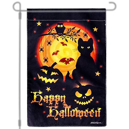 Qpout Halloweenfest Fahne Happy Halloween Flagge Happy Halloween Kürbisse Flagge Halloween Garten Dekorationen Hausflagge Gartenflagge Jack O'Lantern deko, 12 X 18 Inch