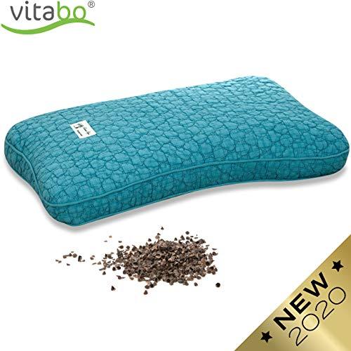 Vitabo Buchweizenkissen zum Schlafen und Liegen | Kopfkissen für Nacken und Wirbelsäule | Natürliches Schlafkissen mit ergonomischer Stützfunktion 27 x 45 cm (Türkis)