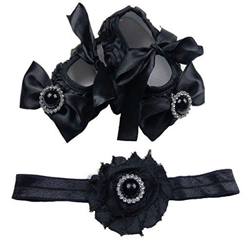 NEU! Süße Baby Ballerina in schwarz inkl. passendem Haarband Gr. 16,17,18,19 (17) (17)