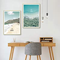 Nordic Decoration Ocean Landscape Wall Art Canvas Painting Mountain Posters and prints Wall Pictures Living Room Home Decor Unframed 51x71cmx2