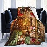 256 Manta estampada de Navidad para chimenea, ligera, muy suave, de microforro polar, para sofá, cama, sala de estar, silla, 127 x 101 cm