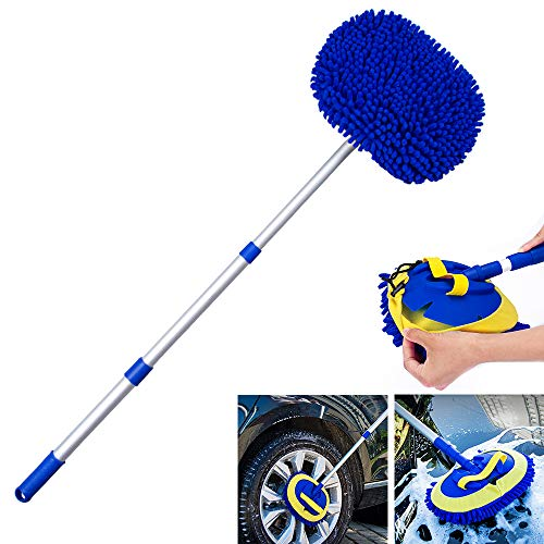 WSTJY 2 in 1 Chenille Microfiber Car Wash Mop Mitt with Aluminum Alloy Long Handle Adjustable Car Wash Scratch Free Cleaning Tool Dust Brush for Washing Truck Car RV