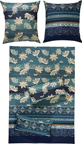 Erwin Müller Flanell Bio-Bettwäsche, Bettgarnitur mit orientalischen Blumen-Ornamenten blau, Größe 135x200 cm (80x80 cm) - klimaausgleichend, mit Reißverschluss, 100% Baumwolle (weitere Größen)