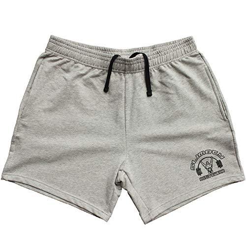 Alivebody - Pantaloncini sportivi da body-building, da uomo, lunghezza gamba interna 12,7 cm, con tasca, in cotone grigio. Medium