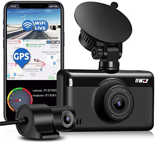 Dual Dash Cam 1440P & 1080P 【Built-in GPS & WiFi】, Front and Rear Camera for Cars with 3 Inch Touch Screen, Driving Recorder with Sony Sensor Night Vision, Motion Detection, Parking Monitor