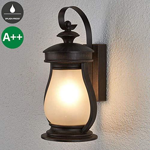 Lampenwelt Wandleuchte außen 'Rafael' dimmbar (spritzwassergeschützt) (Landhaus, Vintage, Rustikal) in Braun aus Aluminium (1 flammig, E27, A++) - Außenwandleuchten, Wandlampe, Led Außenlampe, Outdoor
