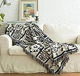 luofanfei Sofa Überwurf Bettüberwurf Couchbezug Tagesdecke Geometrie Muster Dunkelblau Beige 130 x 180 cm Doppelgesicht Decke Baumwolle mit Kurzen Fransen Wohndecke Couchdecke Bedspread