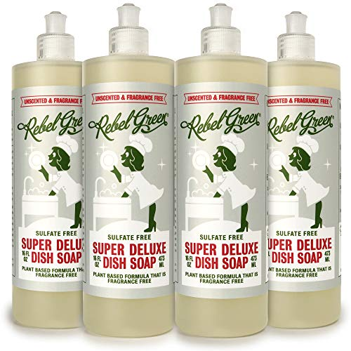 Rebel Green Super Deluxe Dish Soap, 4 Pack, Natural, Sulfate-Free, Biodegradable, and Hypoallergenic Dishwashing Liquid - 16 Ounce Bottles, Unscented