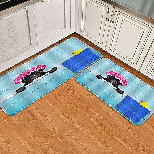 BOKEKANG Durable Anti-Slip Absorbent Kitchen Mats Dirt-Resistant Kitchen Rugs Pet Mat,French Bulldog in a Bathtub Puppy Wearing a Bathing Cap with Yellow Plastic Duck and Towel,Thick Padded Doormat