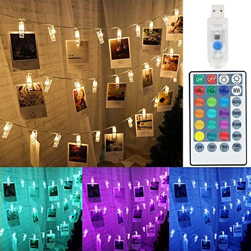 Solhice Color Changing 50 Photo Clips String Lights 20ft RGB Pictures Display Hangers LED Fairy product image