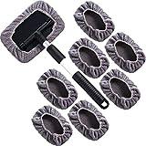 Katigan Brosse de Nettoyage de Vitres de Voiture, Outil de Nettoyage de Verre de Pare-Brise PoignéE en Aluminium Extensible avec des Couvertures en Microfibre 8PièCes SéRies