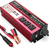 SUDOKEJI Power Inverter 1000W/2000W (Peak) DC 12V to AC 110V 120V Portable car Inverter, car Adapter with LCD Display 3 AC and 4X...