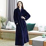 Yuany Comodidad de Gama Alta Kimono de otoño/Invierno Albornoz Ropa de Dormir Pareja Espesor de Franela Alargar Cómodo Mantener abrigado Camisón Ropa de Dormir (Color: Azul Oscuro (Femenino), Ta