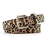 AMOYER Señoras de la impresión del leopardo de la PU de la correa de cuero artificial retro caballo de la pretina del pelo para las mujeres