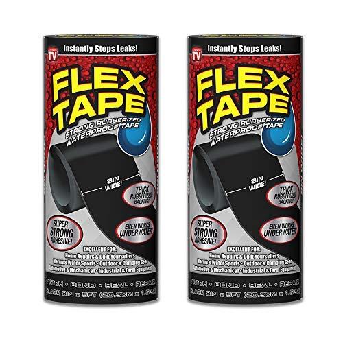 Flex Tape Cinta impermeable de goma, 8 pulgadas x 5 pies, color negro (2 unidades)