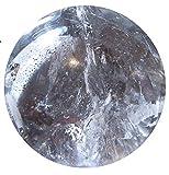 Britain-E-Spheres- 42 mm (aprox. 99 g), esfera de cuarzo tibetano transparente y opaco con inclusiones naturales en soporte de madera barnizada rústica, accesorio de regalo Reiki