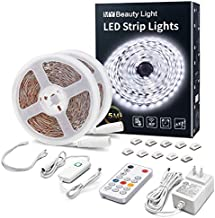 LED Strip Lights 32.8ft White LED Light Strip with RF Remote 6500K Ultra Bright Plug-in Under Cabinet Lighting with Timing Mode LED Tape Light Full Kits for Living Room Bedroom Kitchen Mirror Decor