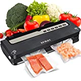 Vacuum Sealer Machine, Food Sealers Vacuum Packing Machine, AFMAT Food Vacuum Sealer, Automatic Vacuum System for Food Savers, Built-in Cutter, Better Sealability w/ 2 Heating Wires, 5 Modes-Black