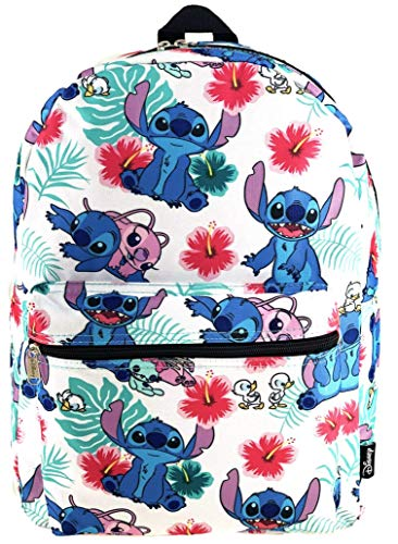 Lilo and Stitch 16 Inch Allover Print Laptop Backpack (White)