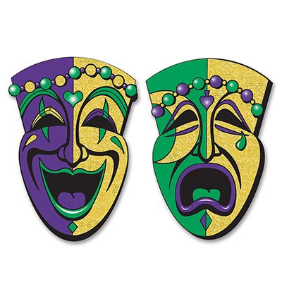 Beistle 2-Pack Jumbo Glittered Comedy and Tragedy Faces, 24-1/2-Inch