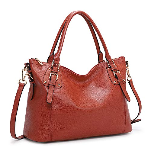 CRAFTSMANSHIP AND MATERIALS - Leather tote bag made of waxed imported cowhide leather materials with beautiful colors; The golden hardware is high quality; Super soft leather with a comfortable hand feeling WELL CONSTRUCTION - All pockets are located...
