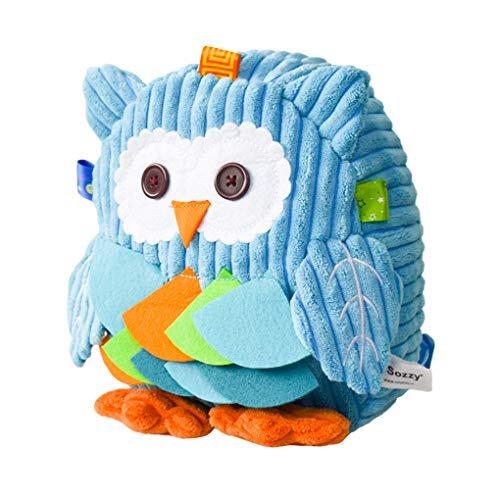 LassZone Toddler Cute Plush Toys Backpack Cartoon Schoolbag Kindergarten Kids Preschool Bag Baby Boys Girls Snack Bag Blue Owl Lunch Bag