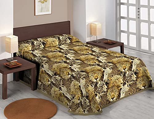 SABANALIA - Colcha Estampada Leo tamaños - Cama 200-300 x 280, Oro