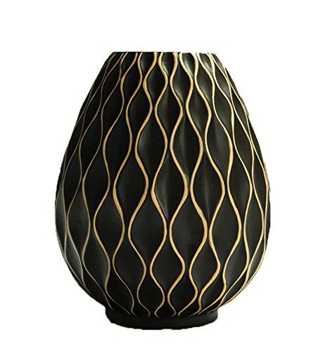 Insun Vase Handgefertigt Keramik Porzellan Glaze Blumen Container Kunsthandwerk Haus Dekoration Bauchig Blumenvase Schwarz