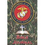 USMC Bible Study Journal With USMC Seal Cross And Bible On The Cover: Faith Book, Note Taker, Inspirational Worship Tool, Cornell Notes, 6 x 9,102 pages