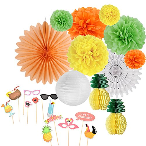 SUNBEAUTY Hawaii Party Accessoire Sommerfest Anana Flamingo Deko Foto Booth Props