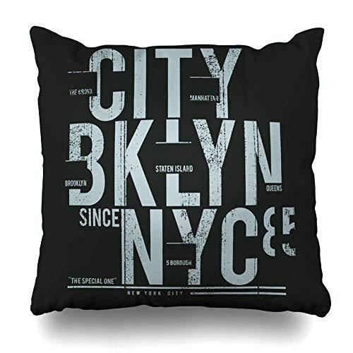 Funda de Almohada Throw Square Pulgadas Nueva York Brooklyn Tipografía Camiseta Varios Fuente NYC Power Strength Team USA Cartel Vintage Funda de Almohada Decorativa Decoración para el hogar Funda de