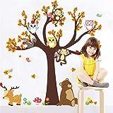 Ramas de dibujos animales, diseño de árbol, búho, diseño de ciervos comunes de oso para la habitación de niños, niñas, niños, decoración del hogar, H0084