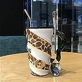 ZSQQSCL Le Lait Le Café Tasse En Céramique,Personnalité Créatrice Cute Giraffe Spirale Jaune Mug Animal, Chocolat Chaud Café Thé 520Ml Tasse Pour Verre Du Matin Office Essentials Anniversaire Choix