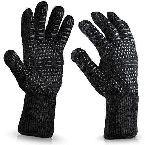 ZF BBQ grillhandschoenen, 932°F hittebestendige grillhandschoenen, Barbecue handschoenen ideaal voor grillen, koken, bakken, BBQ, open haard en vriezer-mannen en vrouwen Fitted-Extra lengte