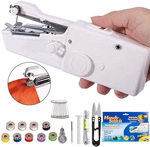 TRUESHOP Sewing Machine Electric Handheld Mini Handy Stitch Portable Cordless Sewing Machine Handmade DIY Tool for Fabric, Clothing, Kids Cloth, Home Travel Use (White)