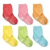 LA Active Calcetines Deportivos Antideslizantes - 6 Pares - Bebé Niño Pequeño Infante Recién Nacido Chicos Chicas Anti Deslizante/Patinazos (Colores Brillantes, 12-36 Meses)