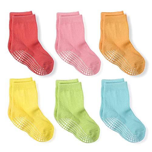 LA Active Calcetines Deportivos Antideslizantes - 6 Pares - Bebé Niño Pequeño Infante Recién Nacido Chicos Chicas Anti Deslizante/Patinazos (Colores Brillantes, 6-12 Meses)
