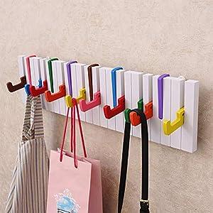 Ruiting Perchero de Pared,Ganchos Decorativos de la Ropa Ganchos para Abrigos,Creativa Colorida de la suspensión del diseño del Teclado de Piano con el Perchero montado en la Pared de 5 Ganchos