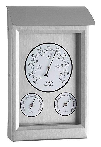Youshiko 3 in 1 Wetterstation für Innen und Außen, Barometer Thermometer Hygrometer mit Edelstahlrahmen