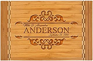 Personalized Bamboo Cutting Board with Butcher Block Inlay – ANDES (LARGE)