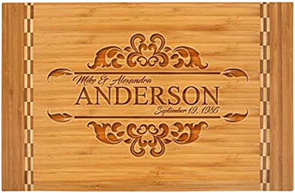 Personalized Bamboo Cutting Board With Butcher Block Inlay ANDES LARGE